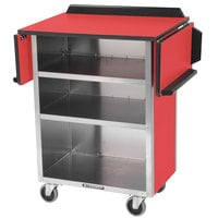Lakeside 672RD Stainless Steel Drop-Leaf Beverage Service Cart with 3 Shelves and Red Laminate Finish - 33 1/8 inch x 21 inch x 38 1/4 inch