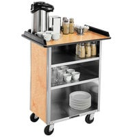 Lakeside 681HRM Stainless Steel Beverage Service Cart with 3 Shelves and Hard Rock Maple Laminate Finish - 58 3/8 inch x 24 inch x 38 1/4 inch