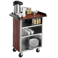 Lakeside 636RM Stainless Steel Beverage Service Cart with 3 Shelves and Red Maple Laminate Finish - 30 1/4 inch x 21 inch x 38 1/4 inch