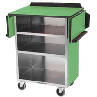 Lakeside 672G Stainless Steel Drop-Leaf Beverage Service Cart with 3 Shelves and Green Laminate Finish - 33 1/8 inch x 21 inch x 38 1/4 inch