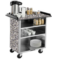 Lakeside 678GS Stainless Steel Beverage Service Cart with 3 Shelves and Gray Sand Laminate Finish - 40 3/4 inch x 24 inch x 38 1/4 inch