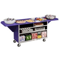 Lakeside 676P Stainless Steel Drop-Leaf Beverage Service Cart with 3 Shelves and Purple Laminate Finish - 61 3/4 inch x 24 inch x 38 1/4 inch