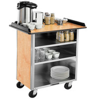 Lakeside 678HRM Stainless Steel Beverage Service Cart with 3 Shelves and Hard Rock Maple Laminate Finish - 40 3/4 inch x 24 inch x 38 1/4 inch