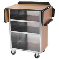 Lakeside 672VC Stainless Steel Drop-Leaf Beverage Service Cart with 3 Shelves and Victorian Cherry Laminate Finish - 33 1/8 inch x 21 inch x 38 1/4 inch