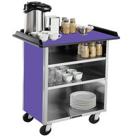 Lakeside 678P Stainless Steel Beverage Service Cart with 3 Shelves and Purple Laminate Finish - 40 3/4 inch x 24 inch x 38 1/4 inch