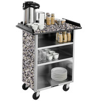 Lakeside 681GS Stainless Steel Beverage Service Cart with 3 Shelves and Gray Sand Laminate Finish - 58 3/8 inch x 24 inch x 38 1/4 inch