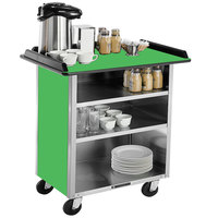 Lakeside 678G Stainless Steel Beverage Service Cart with 3 Shelves and Green Laminate Finish - 40 3/4 inch x 24 inch x 38 1/4 inch