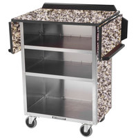 Lakeside 672GS Stainless Steel Drop-Leaf Beverage Service Cart with 3 Shelves and Gray Sand Laminate Finish - 33 1/8 inch x 21 inch x 38 1/4 inch