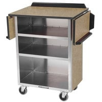 Lakeside 672BS Stainless Steel Drop-Leaf Beverage Service Cart with 3 Shelves and Beige Suede Laminate Finish - 33 1/8 inch x 21 inch x 38 1/4 inch