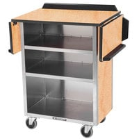 Lakeside 672HRM Stainless Steel Drop-Leaf Beverage Service Cart with 3 Shelves and Hard Rock Maple Laminate Finish - 33 1/8 inch x 21 inch x 38 1/4 inch