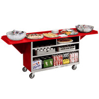 Lakeside 676RD Stainless Steel Drop-Leaf Beverage Service Cart with 3 Shelves and Red Laminate Finish - 61 3/4 inch x 24 inch x 38 1/4 inch