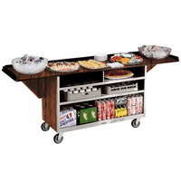 Lakeside 676VC Stainless Steel Drop-Leaf Beverage Service Cart with 3 Shelves and Victorian Cherry Laminate Finish - 61 3/4 inch x 24 inch x 38 1/4 inch