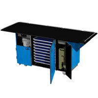 Lakeside 6855BL Mobile Breakout Dining Station with Royal Blue Laminate Finish - 95 inch x 30 1/2 inch