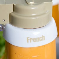 Tablecraft CB2 Imprinted White Plastic French Salad Dressing Dispenser Collar with Beige Lettering