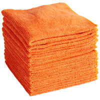 Knuckle Buster MFMP12OR 12 inch x 12 inch Orange Microfiber Cleaning Cloth - 12/Pack
