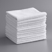 Knuckle Buster MFMP12WH 12 inch x 12 inch White Microfiber Cleaning Cloth - 12/Pack