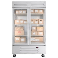 Beverage-Air RB49HC-1G 52 inch Vista Series Two Section Glass Door Reach-In Refrigerator - 49 Cu. Ft.