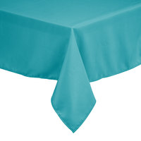 Intedge 45 inch x 110 inch Rectangular Teal 100% Polyester Hemmed Cloth Table Cover