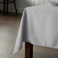 Intedge 45 inch x 110 inch Rectangular Gray 100% Polyester Hemmed Cloth Table Cover