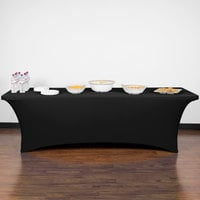 Snap Drape CN420CV30830014 Contour Cover 96 inch x 30 inch Black Spandex Table Cover