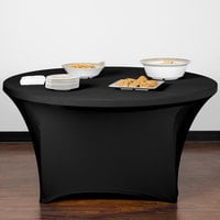 Snap Drape CN420R6030014 Contour Cover 60 inch Round Black Spandex Table Cover
