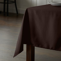 Intedge 54 inch x 72 inch Rectangular Brown 100% Polyester Hemmed Cloth Table Cover