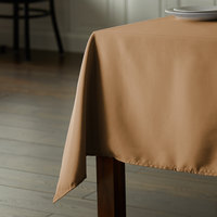 Intedge 54 inch x 72 inch Rectangular Beige 100% Polyester Hemmed Cloth Table Cover