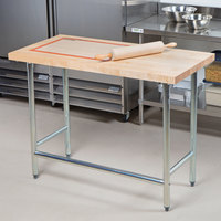 Advance Tabco TH2G-304 Wood Top Work Table with Galvanized Base - 30 inch x 48 inch