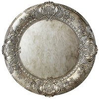 The Jay Companies 1320424 14 inch Round Silver Embossed Plastic Charger Plate