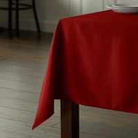 Intedge 54 inch x 81 inch Rectangular Red 100% Polyester Hemmed Cloth Table Cover
