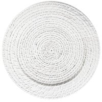 The Jay Companies 1660151 13 inch Round White Rattan Charger Plate
