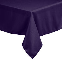 Intedge 54 inch x 81 inch Rectangular Purple 100% Polyester Hemmed Cloth Table Cover