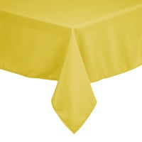 Intedge 54 inch x 96 inch Rectangular Yellow 100% Polyester Hemmed Cloth Table Cover