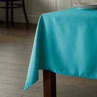 Intedge 54 inch x 96 inch Rectangular Teal 100% Polyester Hemmed Cloth Table Cover