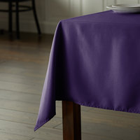 Intedge 64 inch x 110 inch Rectangular Purple 100% Polyester Hemmed Cloth Table Cover