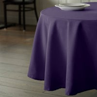 Intedge 120 inch Round Purple 100% Polyester Hemmed Cloth Table Cover