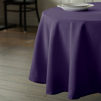 Intedge 132 inch Round Purple 100% Polyester Hemmed Cloth Table Cover