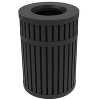 Commercial Zone 728001 ArchTec Parkview 45 Gallon Black Steel Outdoor Round Trash Receptacle
