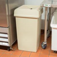 Continental Swingline 25 Gallon Beige Square Trash Can and Drop Shot Lid Set