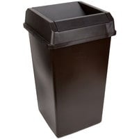 Continental Swingline 25 Gallon Brown Square Trash Can and Drop Shot Lid Set