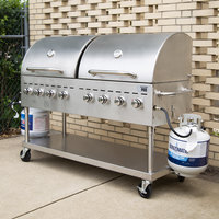 Backyard Pro C3H860DEL Deluxe 60 inch Stainless Steel Liquid Propane Outdoor Grill with Roll Dome and Vinyl Cover