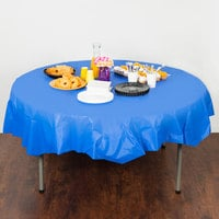 Creative Converting 703147 82 inch Cobalt Blue OctyRound Disposable Plastic Table Cover - 12/Case