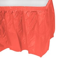 Creative Converting 743146 14' x 29 inch Coral Orange Plastic Table Skirt