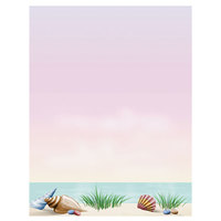 8 1/2 inch x 11 inch Menu Paper - Seafood Themed Coral Design Middle Insert - 100/Pack