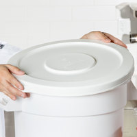 Continental 1002WH Huskee 10 Gallon White Round Trash Can Lid