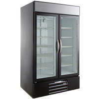 "Beverage-Air MMR44HC-1-B MarketMax 47"" Black Two Section Glass Door Merchandiser Refrigerator - 45 cu. ft."