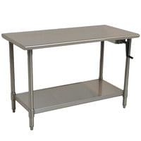 "Eagle Group T3072SE-HA Right Crank 14 Gauge Type 304 Stainless Steel Adjustable Height ADA / Ergonomic Work Table with Undershelf - 30"" x 72"""