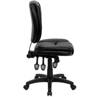 Flash Furniture GO-930F-BK-LEA-GG Mid-Back Black Multi-Functional Ergonomic Leather Office Chair / Task Chair