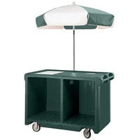 Cambro CVC55519 Camcruiser Green Vending Cart with Umbrella, 1 Counter Well, and 2 Storage Compartments