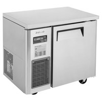 Turbo Air JUR-36S-N6 J Series 36 inch Narrow Depth Solid Door Undercounter Refrigerator with Side Mounted Compressor